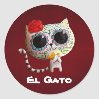 The Day of The Dead Cute Cat Classic Round Sticker