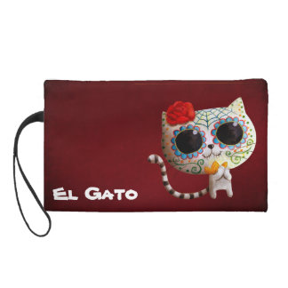 The Day of The Dead Cute Cat Wristlet Purse