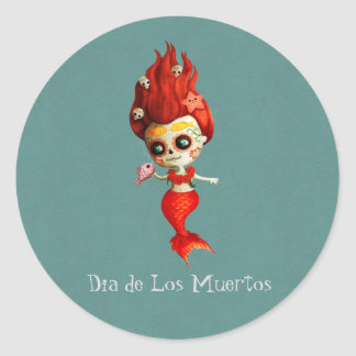 The Day of The Dead Mermaid Classic Round Sticker