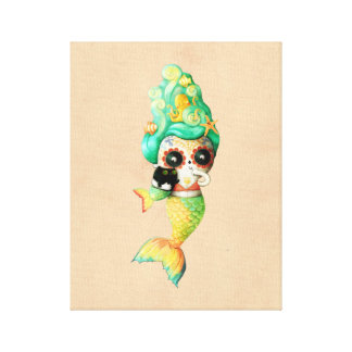 The Day of The Dead Mermaid Girl Canvas Print