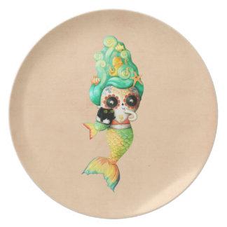 The Day of The Dead Mermaid Girl Dinner Plate