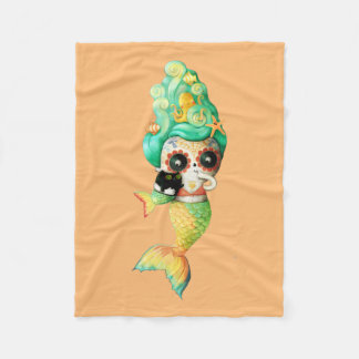 The Day of The Dead Mermaid Girl Fleece Blanket