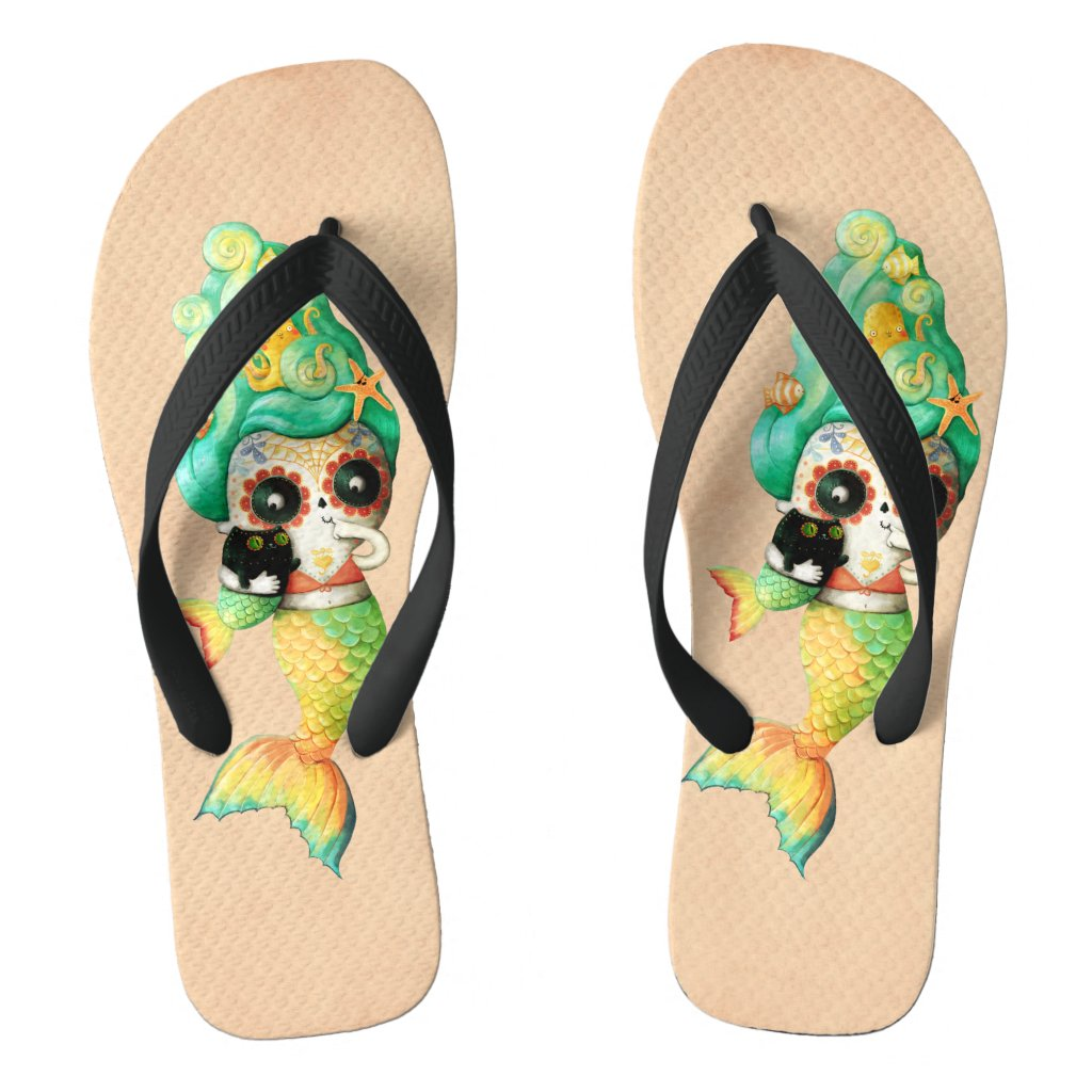 The Day of The Dead Mermaid Girl Flip Flops