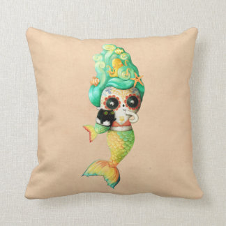 The Day of The Dead Mermaid Girl Pillows