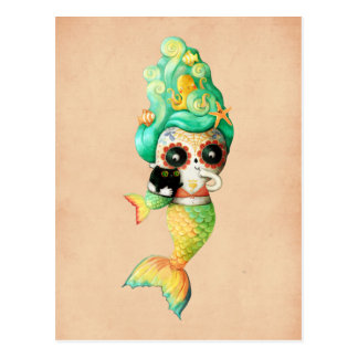 The Day of The Dead Mermaid Girl Postcard