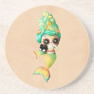 The Day of The Dead Mermaid Girl Sandstone Coaster