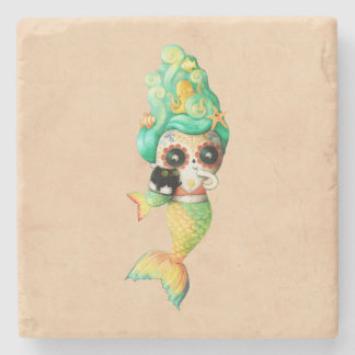 The Day of The Dead Mermaid Girl Stone Coaster