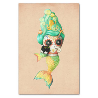 The Day of The Dead Mermaid Girl Tissue Paper