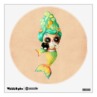 The Day of The Dead Mermaid Girl Wall Sticker