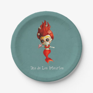 The Day of The Dead Mermaid Paper Plate