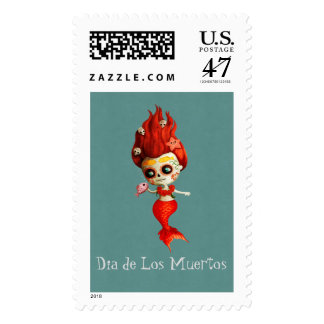 The Day of The Dead Mermaid Postage Stamp