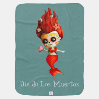 The Day of The Dead Mermaid Receiving Blanket