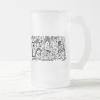 The Day of the Dead, Mexico. Circa early 1900's Frosted Glass Beer Mug
