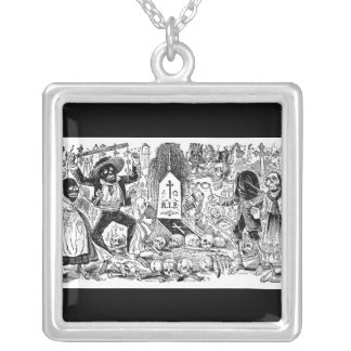 The Day of the Dead, Mexico. Circa early 1900's. Square Pendant Necklace