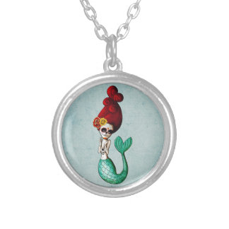 The Day of The Dead Old School Mermaid Gal Round Pendant Necklace