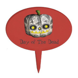 The Day of The Dead Pumpkin Sugar Skull Cake Topper