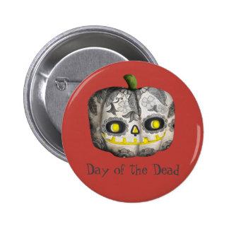 The Day of The Dead Pumpkin Sugar Skull Pinback Button