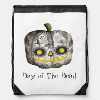 The Day of The Dead Pumpkin Sugar Skull Cinch Bag