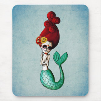 The Day of The Dead Red Hair Mermaid Girl Mouse Pad