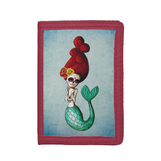 The Day of The Dead Red Hair Mermaid Tri-fold Wallet