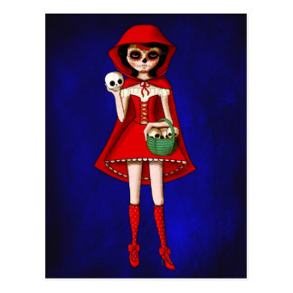The Day of The Dead Red Riding Hood Postcard