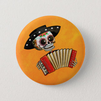 The Day of The Dead Skeleton El Mariachi Button
