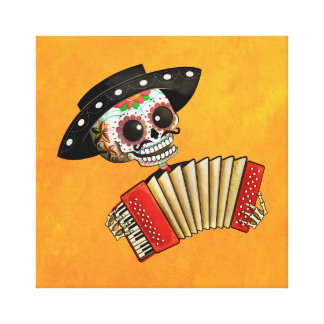 The Day of The Dead Skeleton El Mariachi Canvas Print
