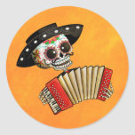 The Day of The Dead Skeleton El Mariachi Classic Round Sticker