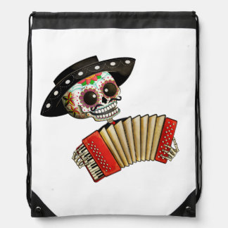 The Day of The Dead Skeleton El Mariachi Drawstring Backpack