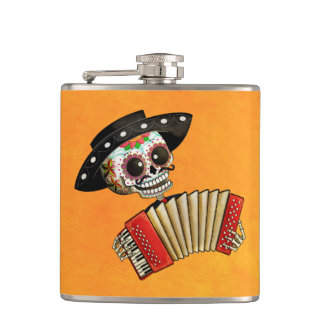 The Day of The Dead Skeleton El Mariachi Hip Flask