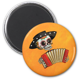 The Day of The Dead Skeleton El Mariachi 2 Inch Round Magnet