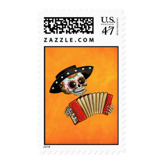 The Day of The Dead Skeleton El Mariachi Postage Stamp