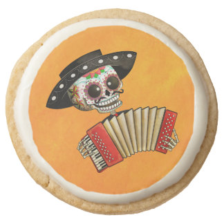 The Day of The Dead Skeleton El Mariachi Round Shortbread Cookie