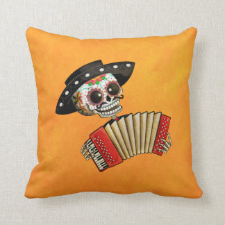 The Day of The Dead Skeleton El Mariachi Throw Pillow