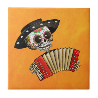 The Day of The Dead Skeleton El Mariachi Small Square Tile