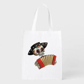 The Day of The Dead Skeleton El Mariachi Grocery Bag