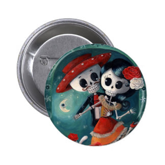 The Day of The Dead Skeleton Lovers Button