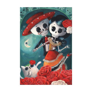 The Day of The Dead Skeleton Lovers Gallery Wrap Canvas
