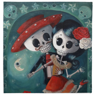 The Day of The Dead Skeleton Lovers Cloth Napkin