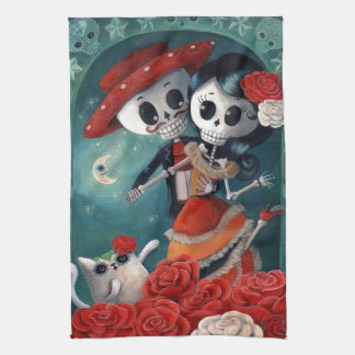 The Day of The Dead Skeleton Lovers Hand Towel