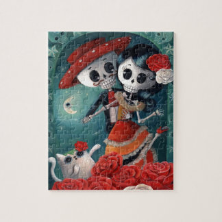 The Day of The Dead Skeleton Lovers Jigsaw Puzzle