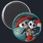"""The Day of The Dead Skeleton Lovers Magnet<br><div class=""""desc"""">Piece of Day of The Dead art with Couple of Skeletons in love. During Mexican holiday of Dia de Los Muertos, everyone celebrate - there is lots of dancing and singing. These skeletons are in the middle of their passionate dance, among flowers and sugar skulls under the shining moon. For...</div>"""