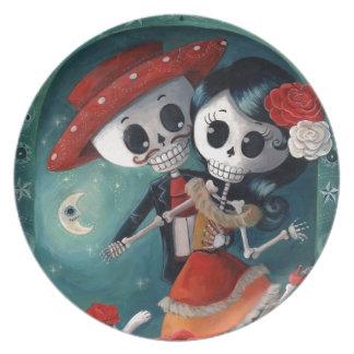 The Day of The Dead Skeleton Lovers Melamine Plate
