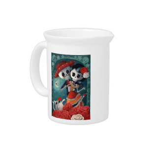The Day Of The Dead Skeleton Lovers Pitcher at Zazzle