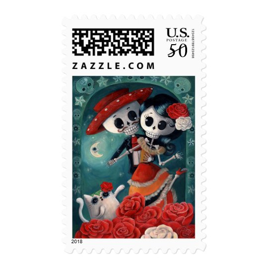 The Day of The Dead Skeleton Lovers Postage