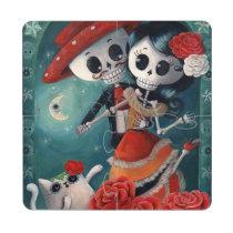 artsprojekt, skeleton, day of the dead, dia de los muertos, halloween, sugar skull, lovers, day of the dead art, mexican sugar skulls, lovers day, dia de muertos, skeleton gift, mexican skeleton, eternal love, love gift, mexico, mexican, mexican cat, love, skeleton lovers, romantic skeletons, dead love, dead romance, mexican romance, mexican holiday, dead lovers, mariachi, calavera, love skeleton, dia de los muertos gift, love present, skeleton present, dia de los muertos present, lovers pictures, gift for lover, catrina, [[missing key: type_pioc_coasterpuzzl]] com design gráfico personalizado