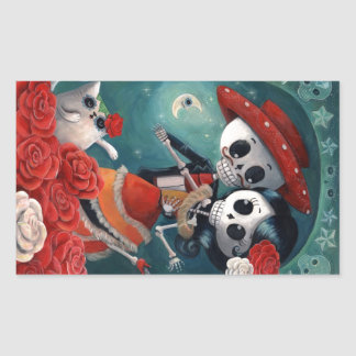 The Day of The Dead Skeleton Lovers Rectangular Sticker