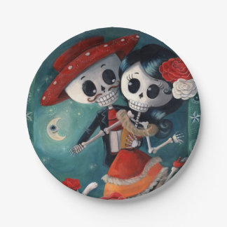 The Day of The Dead Skeleton Lovers 7 Inch Paper Plate