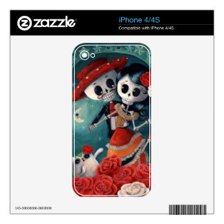 The Day of The Dead Skeleton Lovers Skins For The iPhone 4