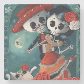 The Day of The Dead Skeleton Lovers Stone Coaster